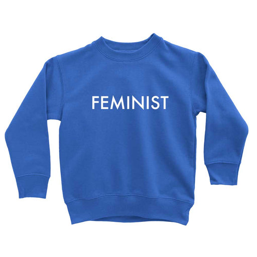 blue feminist kids long sleeve sweatshirt for fall fashion