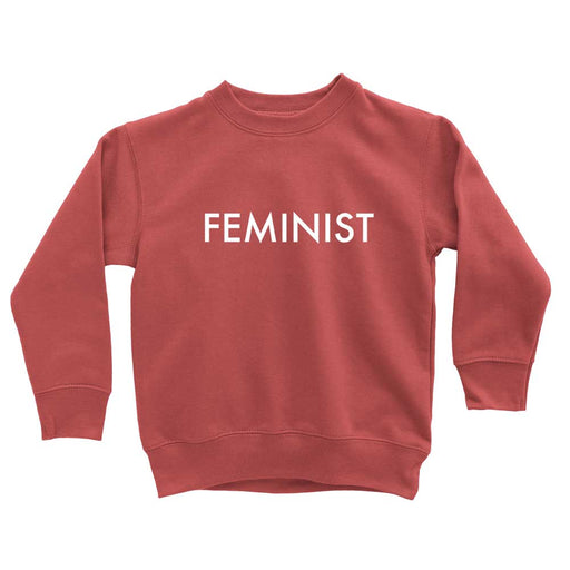 minimal modern Feminist red sweatshirt for toddlers