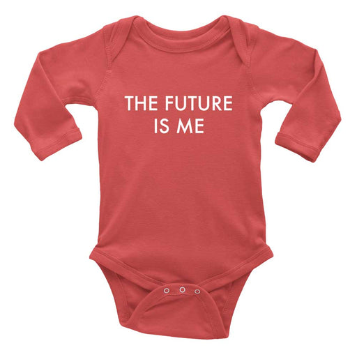 The future is me red baby bodysuit with long sleeves