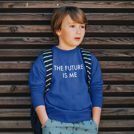 boy wearing future is me sweatshirt for toddlers in blue