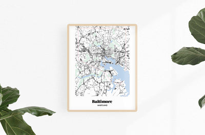 Baltimore Map Baltimore Neighborhood Print 11 x 14 Vertical