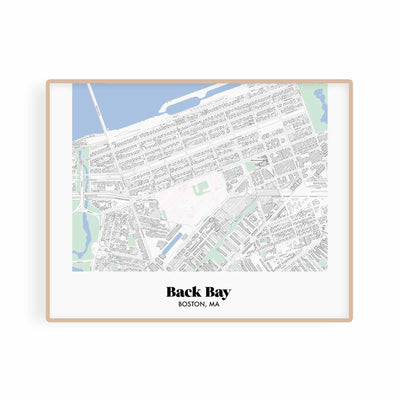 Boston Map Back Bay Neighborhood Print 11 x 14 Horizontal Print