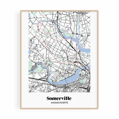 Boston Map Somerville Neighborhood Print 11 x 14 Vertical