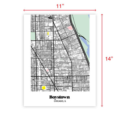 Chicago Map Boystown Neighborhood Print 11 x 14 Vertical