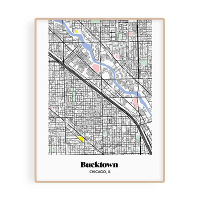 Chicago Map Bucktown Neighborhood Print 11 x 14 Vertical