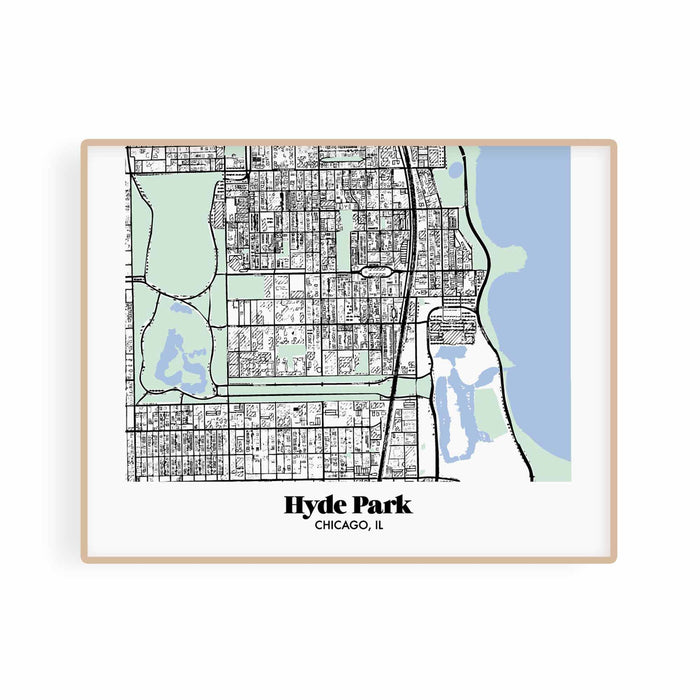 Chicago Map Hyde Park Neighborhood Print 11 x 14 Horizontal