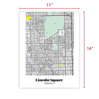Chicago Map Lincoln Park Neighborhood Print 11 x 14 Vertical