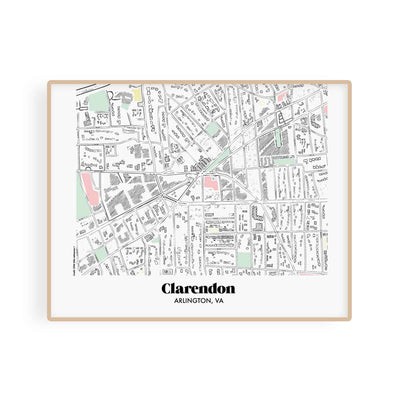 Arlington Virginia Map Clarendon Neighborhood Print 11 x 14 Horizontal