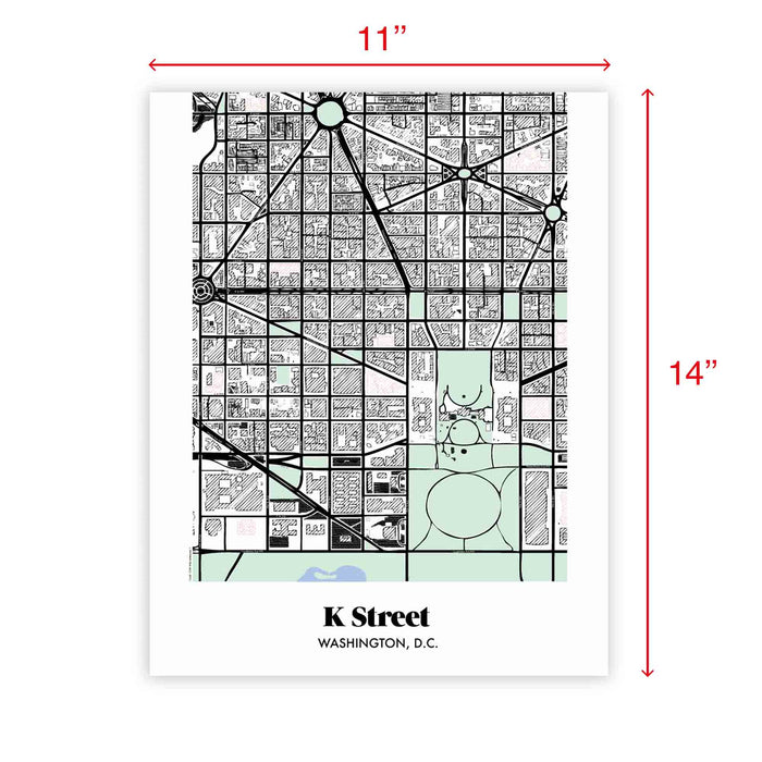 Washington DC  Map K Street Neighborhood Print 11 x 14 Vertical
