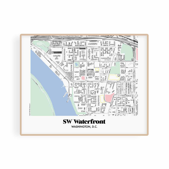 Wahington DC Map Southwest Waterfront Neighborhood Print 11 x 14 Horizontal