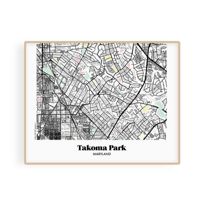 Washington DC Map Takoma Park, MD Neighborhood Print 11 x 14 Horizontal