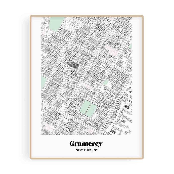 New York Map Gramercy Neighborhood Print 11 x 14 Vertical