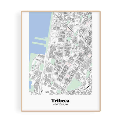 New York Map Tribeca Neighborhood Print 11 x 14 Vertical