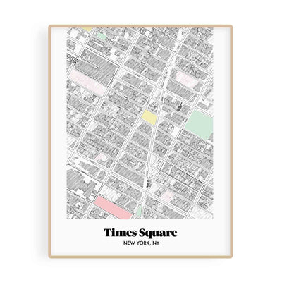 New York Map Times Square Neighborhood Print 11 x 14 Vertical