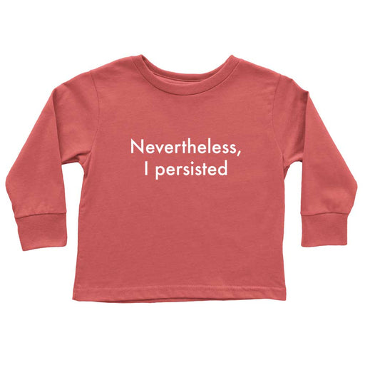 Red nevertheless she persisted shirt flat lay for toddler girl