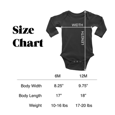 sizing chart for mikspress long sleeve baby bodysuits