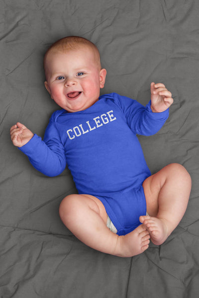 baby wearing blue college long sleeve baby bodysuit from john belushi