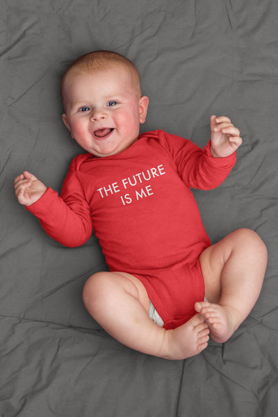 baby wearing red future is me baby bodysuit and smiling