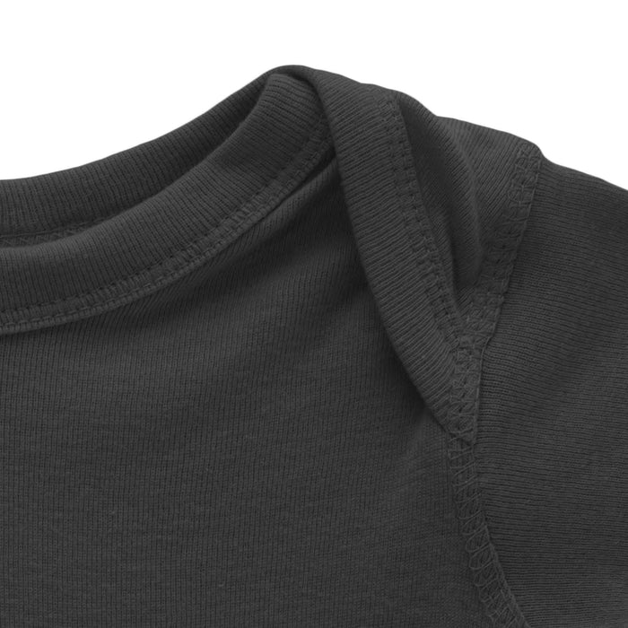 close up of top of grey long sleeve onesie mikspress