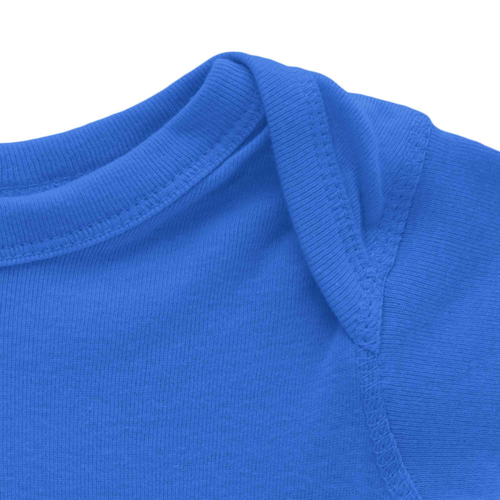 close up of top of blue long sleeve onesie mikspress