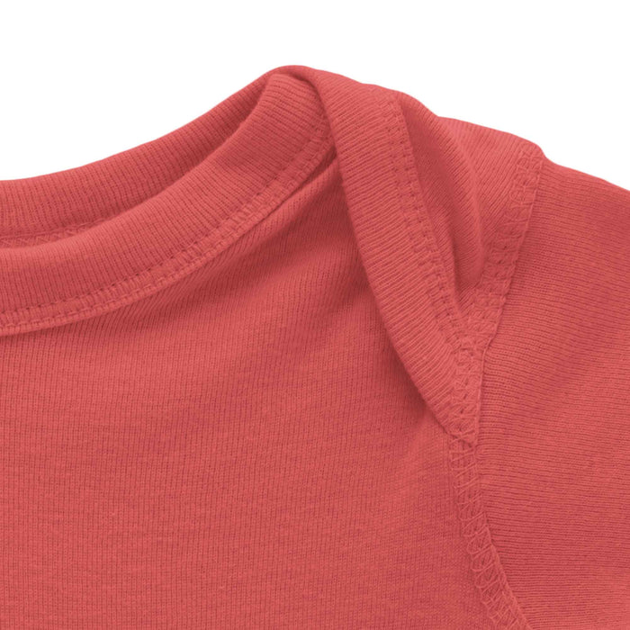 close up of top of red long sleeve onesie mikspress