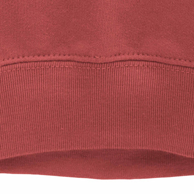 Mikspress red sweatshirt close up of ribbed bottom