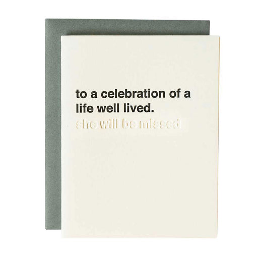sympathy sentiment card celebration of life