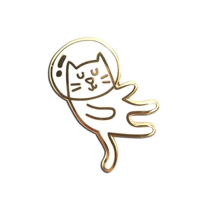 Cat Lady Pin white background