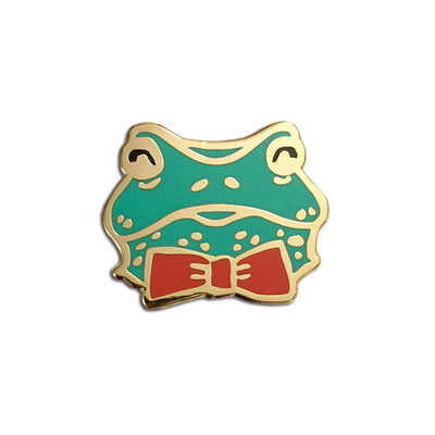Cute Frog Pin, Green Froggy with Red Bowtie Hard Enamel Pin