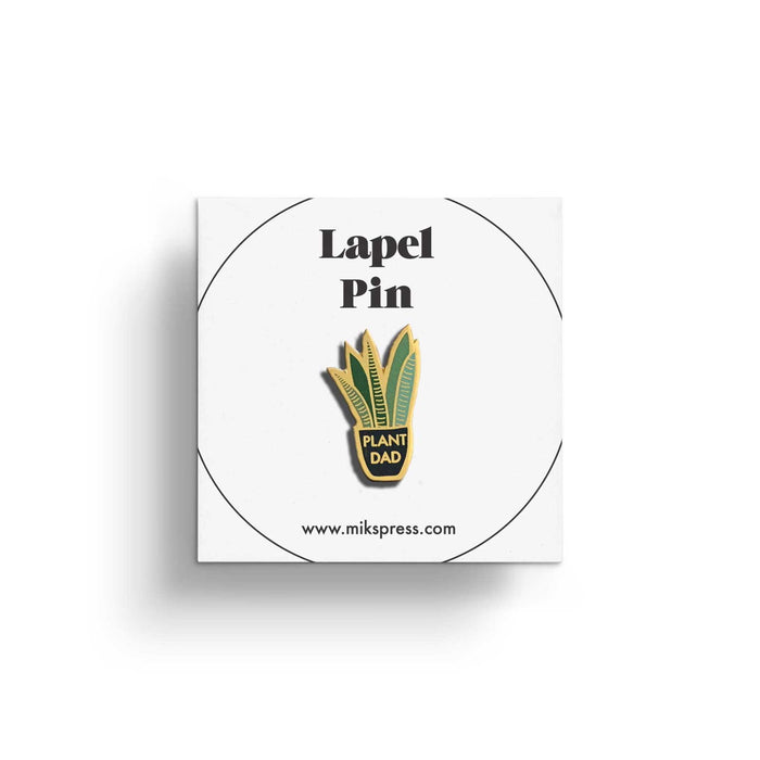 Plant Dad Pin in packaging