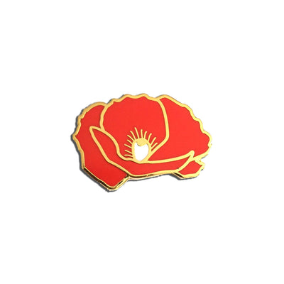 Red Poppy Enamel Pin Flower for Veteran's Day