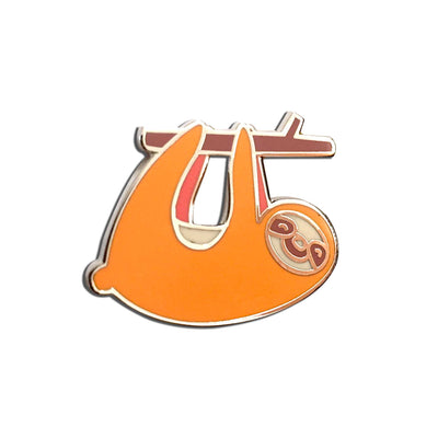 Cute Orange Sloth Enamel Pin Hanging On Branch
