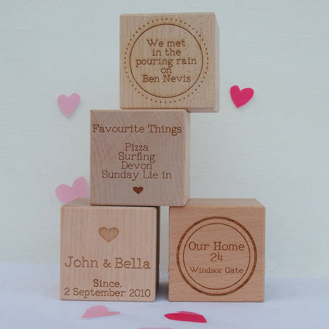 Our Story Personalised Engraved Wooden Cube