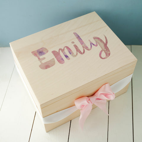 Marble Print Personalised Wooden Keepsake Box