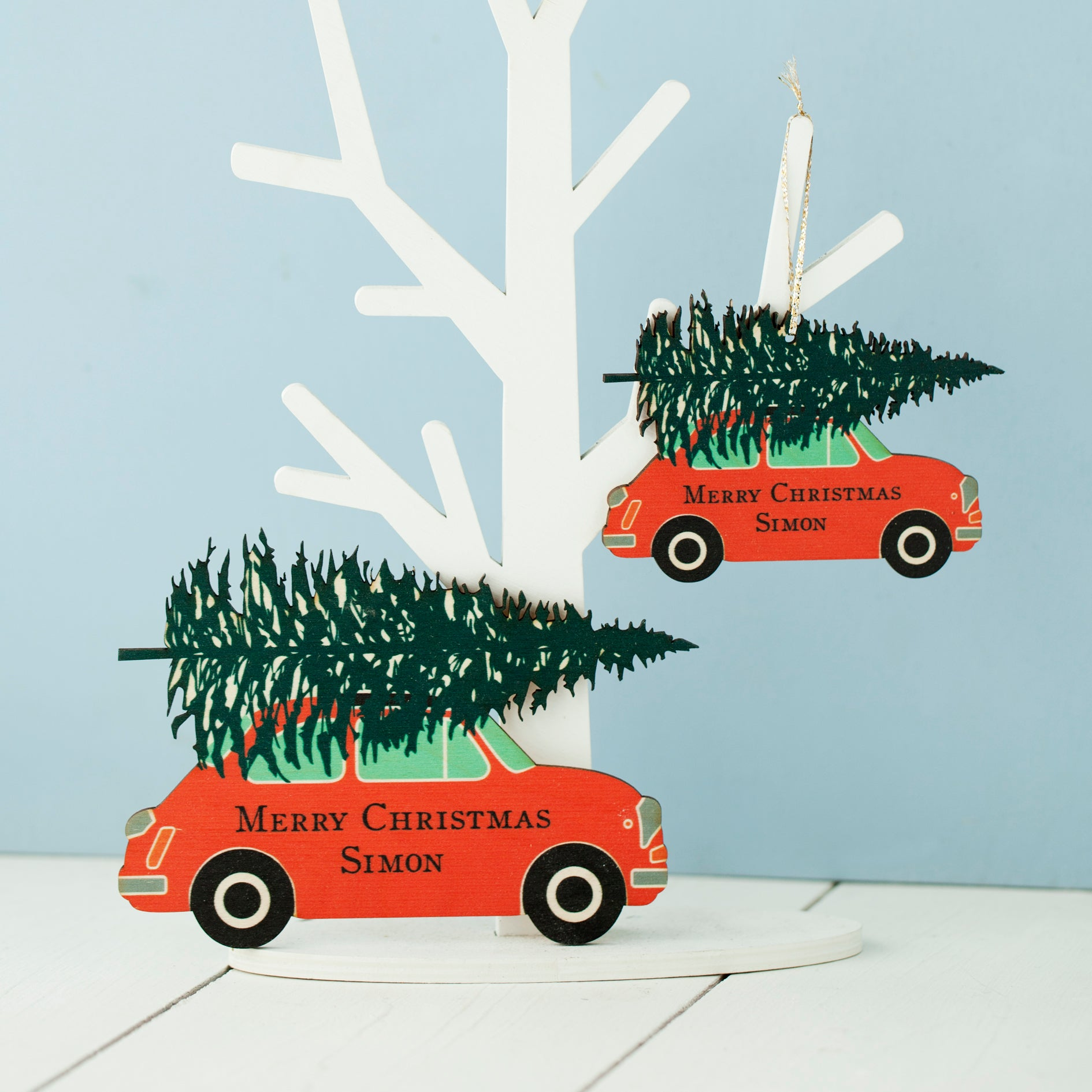 Car Christmas Tree.Personalised Wooden Car Christmas Decoration