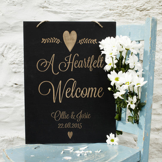Engraved Chalkboard Wedding Sign