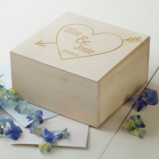 Engraved Wooden Heart Keepsake Box