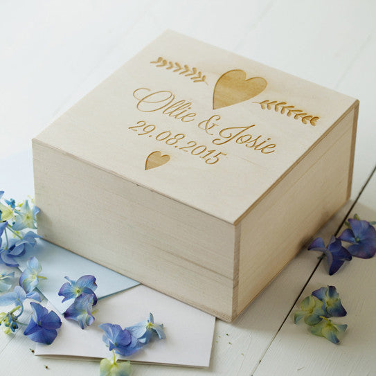 Engraved Message Wedding Keepsake Box