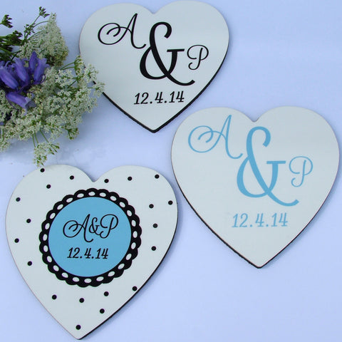 Heart shaped Monogram Coasters