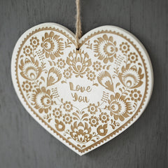 Folk Art Style Engraved Wooden Card