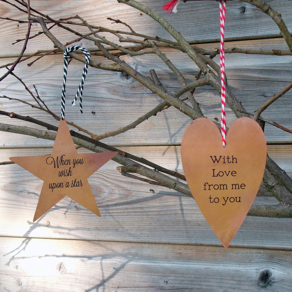 Personalised Copper Tree Decorations