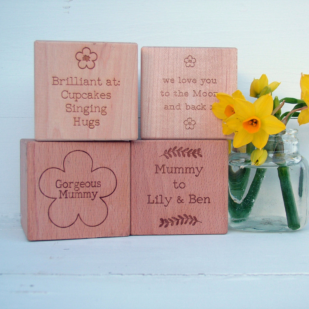 'About Our Mum' Engraved Beech Or Maple Wood Block
