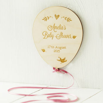 Baby Shower Engraved Birchwood Balloon Card