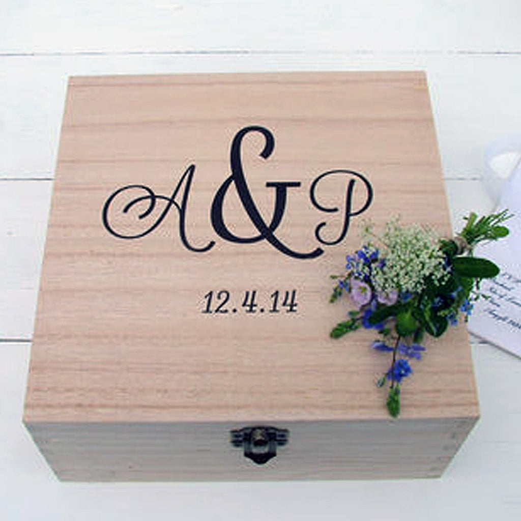 Monogram Wedding Memories Box