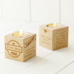 Our Story Engraved Wooden Tealight Cube
