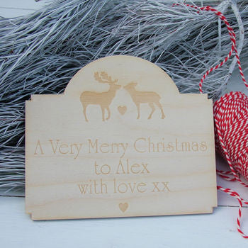 Personalised Christmas Deer Engraved Card