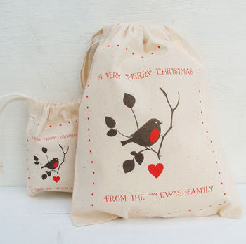 Personalised Christmas Robin Gift Bags