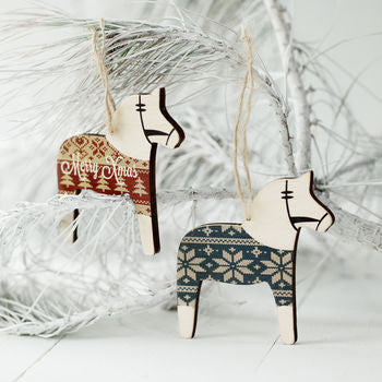 Personalised Wooden Ponies In Christmas Jumpers