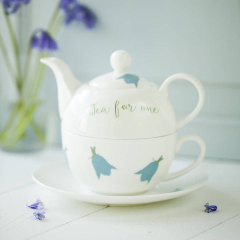 Bluebells Personalised China Teapot Cup And Saucer