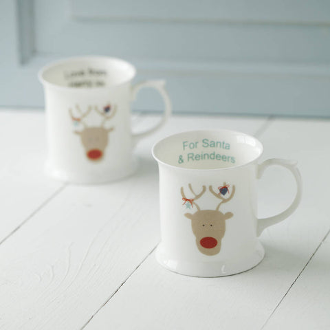 Bone China Mug For Santa And Reindeers
